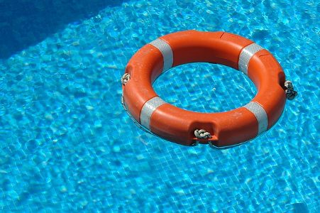 Life buoy in pool